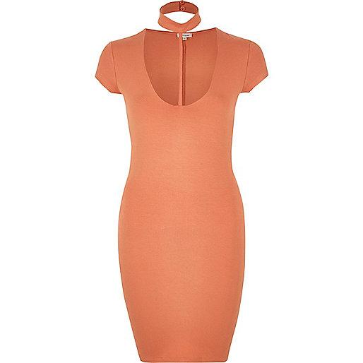 Orange T-bar dress