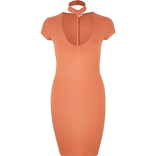 Orange T-bar dress
