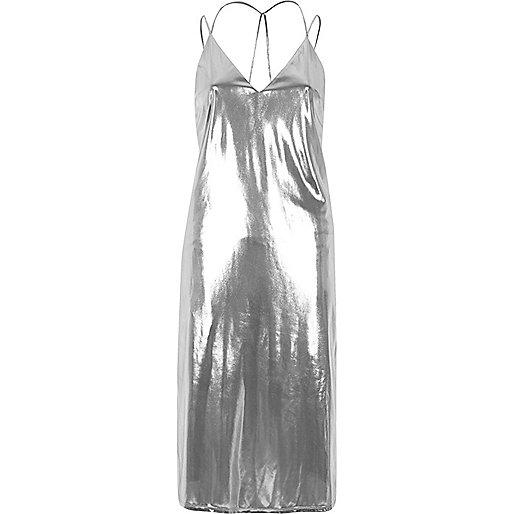 Silver lamé slip dress