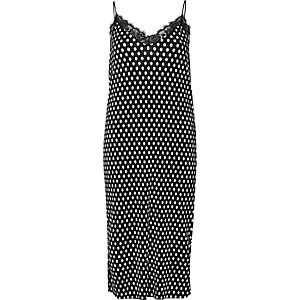 Black polka dot lace trim cami midi dress
