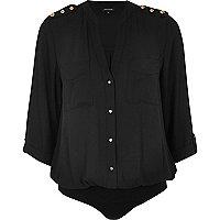 Black military blouse bodysuit