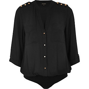 Black military blouse bodysuit