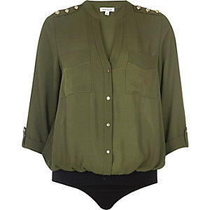 Khaki military blouse bodysuit
