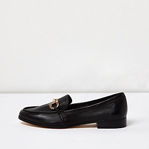 Black gold trim leather loafers