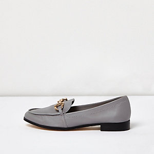 Grey gold trim leather loafers