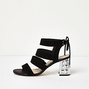 Black strappy embellished heel sandals
