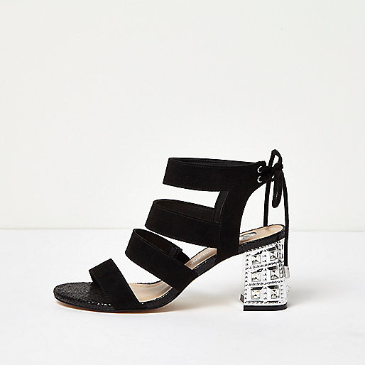 Black embellished block heel sandals