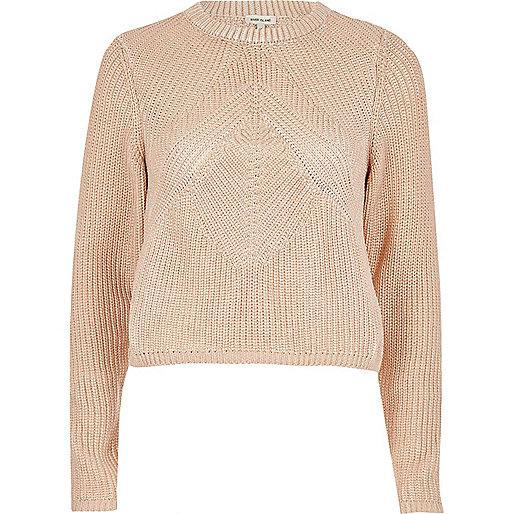 Gold foil print stitch sweater