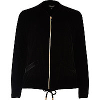 Black velvet bomber shacket