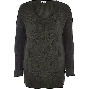 Khaki cable front knit jumper