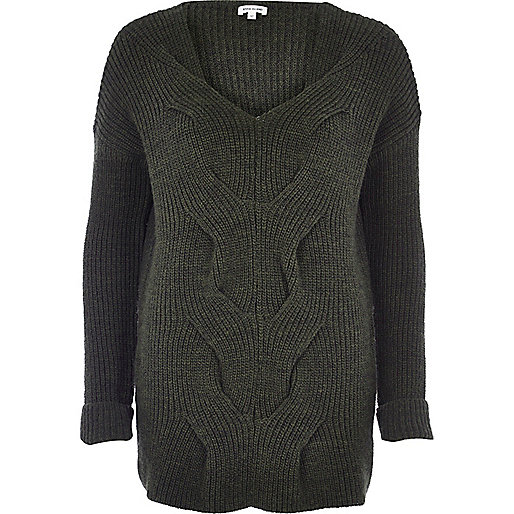 Khaki cable front knit sweater