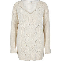 Cream cable front knit sweater