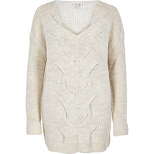 Cream cable front knit jumper