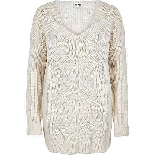 Pullover mit Zopfmuster vorne in Creme