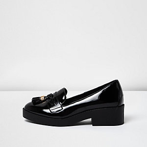 Black patent chunky loafers