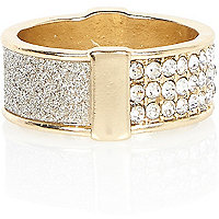 Gold tone gem encrusted ring