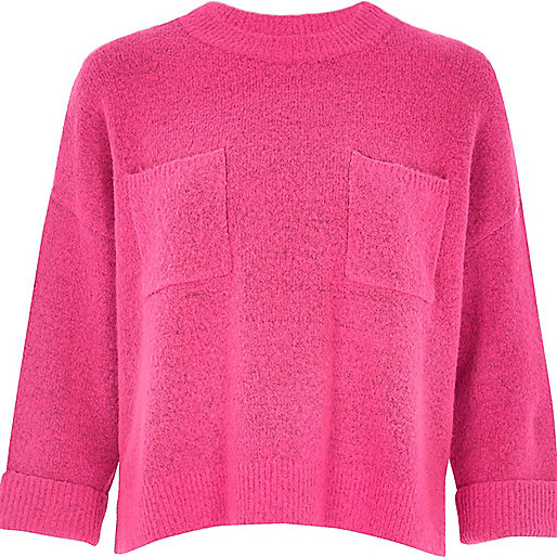 Bright pink knit grazer top