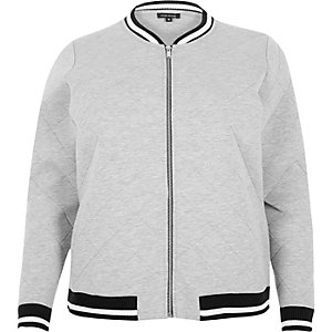 RI Plus grey quilted bomber jacket