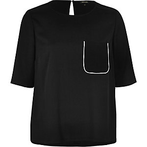 Black short sleeve pajama T-shirt