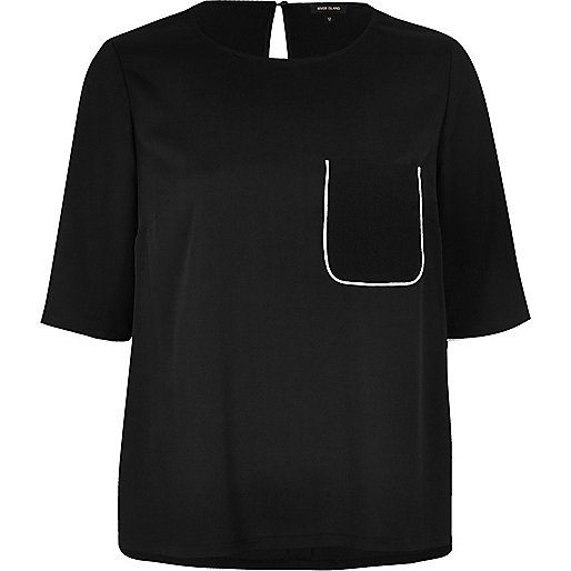 T-shirt de pyjama noir à manches courtes