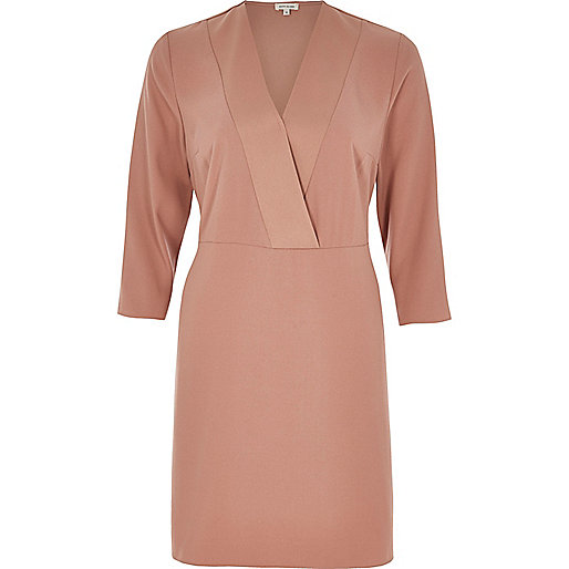 Light pink satin wrap dress