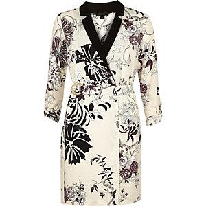 Cream floral print tux dress