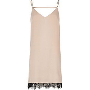 Grey lace insert slip dress