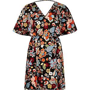 Black floral print cape dress