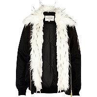 Black faux fur front jacket