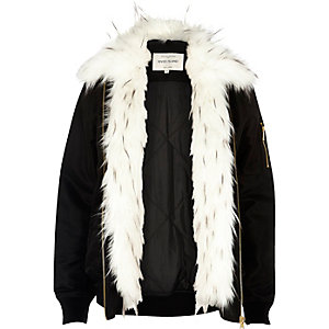 Black faux fur front jacket