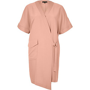 Pink tux shirt dress
