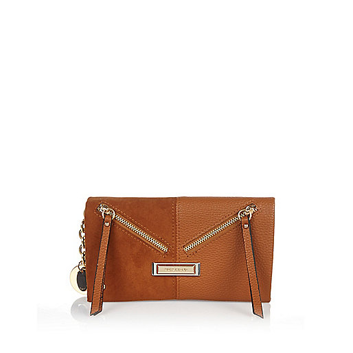 Brown foldover purse