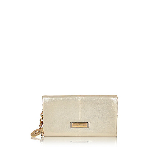 Gold glitter foldover purse