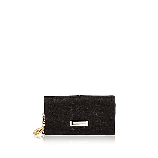 Black glitter foldover purse