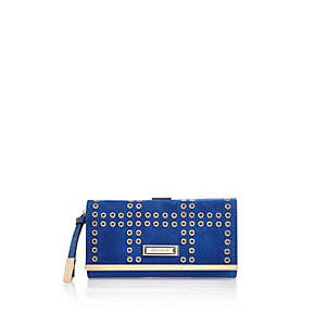 Blue eyelet clip top purse