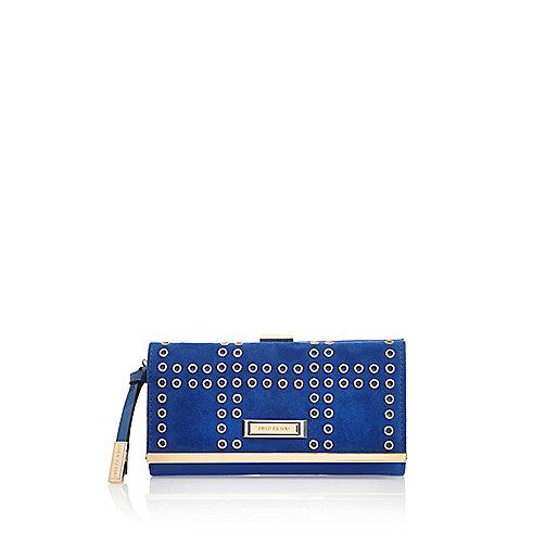 Blaue Geldbörse mit Clipverschluss