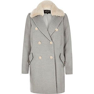 Grey faux fur trim overcoat