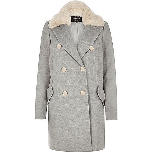 Grey faux fur trim overcoat