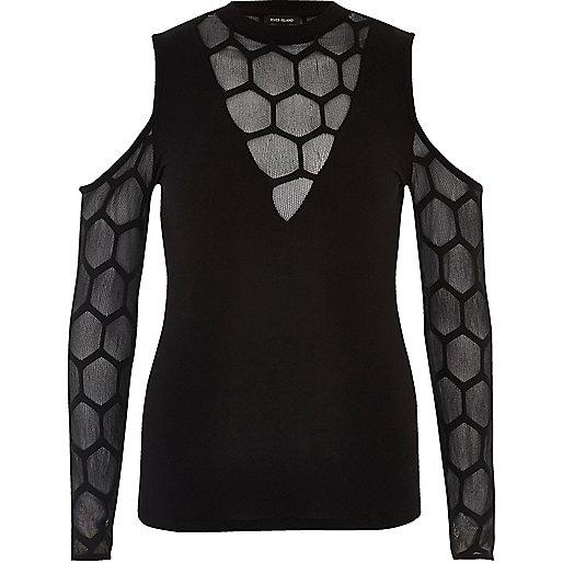 Black hexagonal mesh cold shoulder top