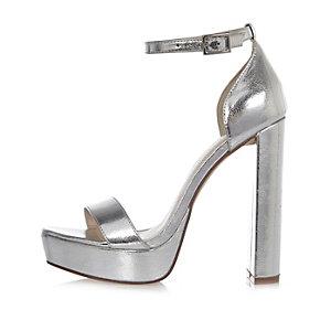 Silver double strap platform heels