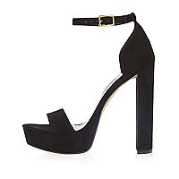 Chaussures noires à plateforme, double bride et talons