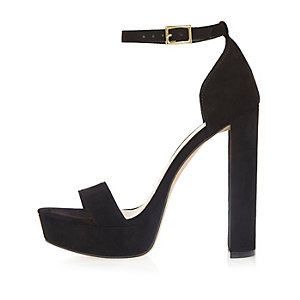 Black double strap platform heels