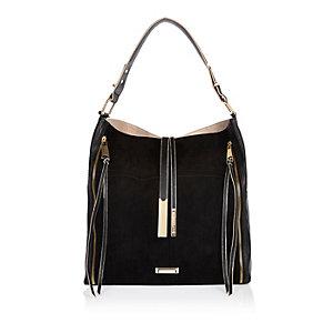 Black tassel oversized slouch handbag