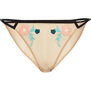 Light pink floral embroidered mesh thong