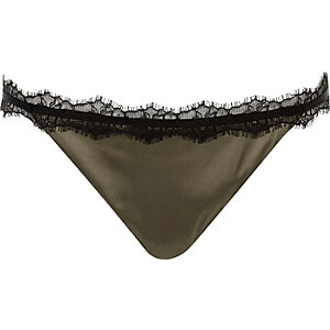 Khaki eyelash trim knickers