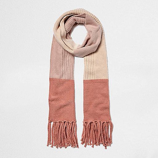 Écharpe rose en maille à blocs de couleur
