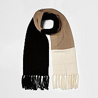 Black print colour block scarf