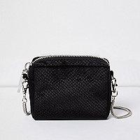 Black velvet mini square handbag