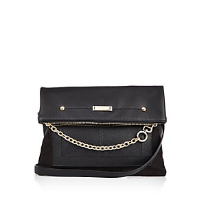 Black foldover chain cross body handbag