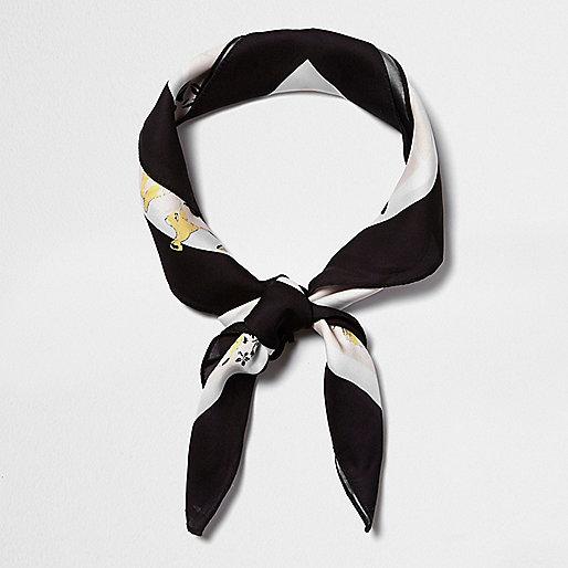 Cream floral print neck scarf